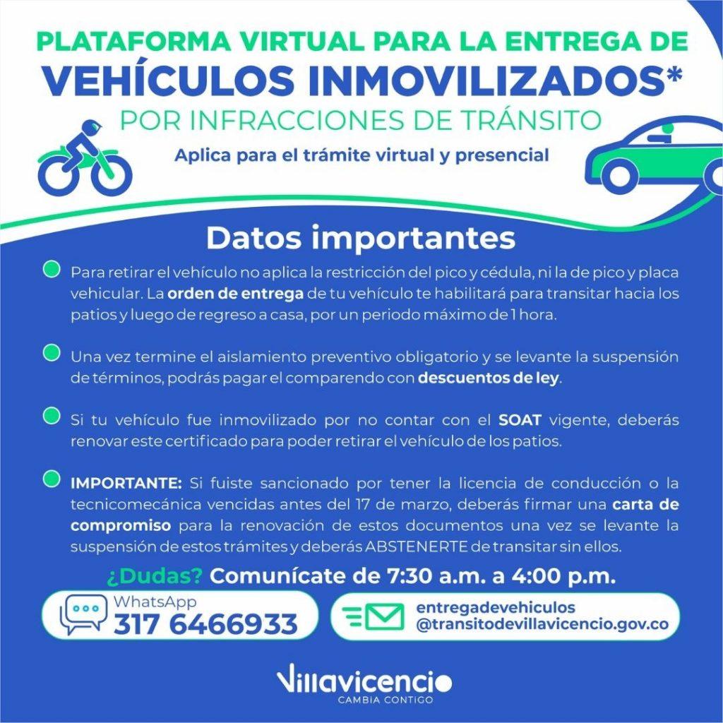 Conozca la plataforma virtual para la entrega vehículos inmovilizados