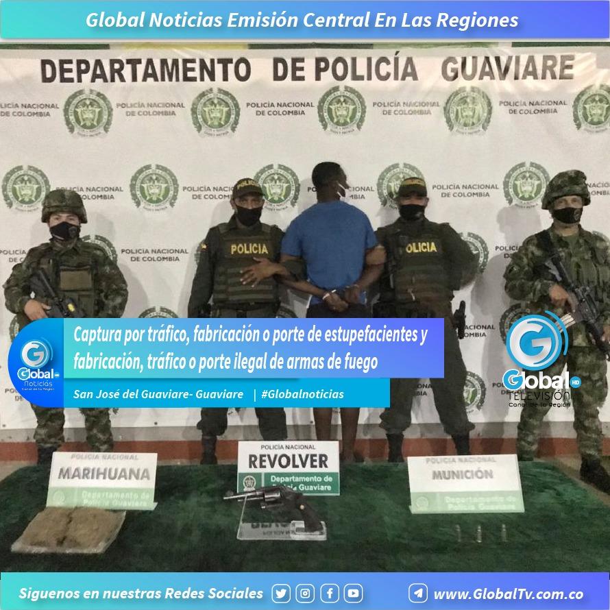 Captura por tráfico, fabricación o porte de estupefacientes y fabricación, tráfico o porte ilegal de armas de fuego en el municipio de San José del Guaviare