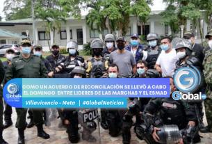 COMO UN ACUERDO DE RECONCILACIÓN SE LLEVÓ A CABO EL DOMINGO ENTRE LIDERES DE LAS MARCHAS Y EL ESMAD