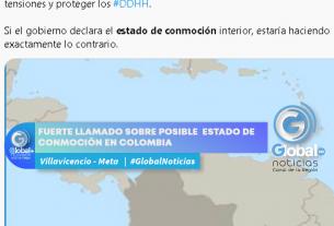 FUERTE LLAMADO SOBRE POSIBLE ESTADO DE CONMOCIÒN EN COLOMBIA