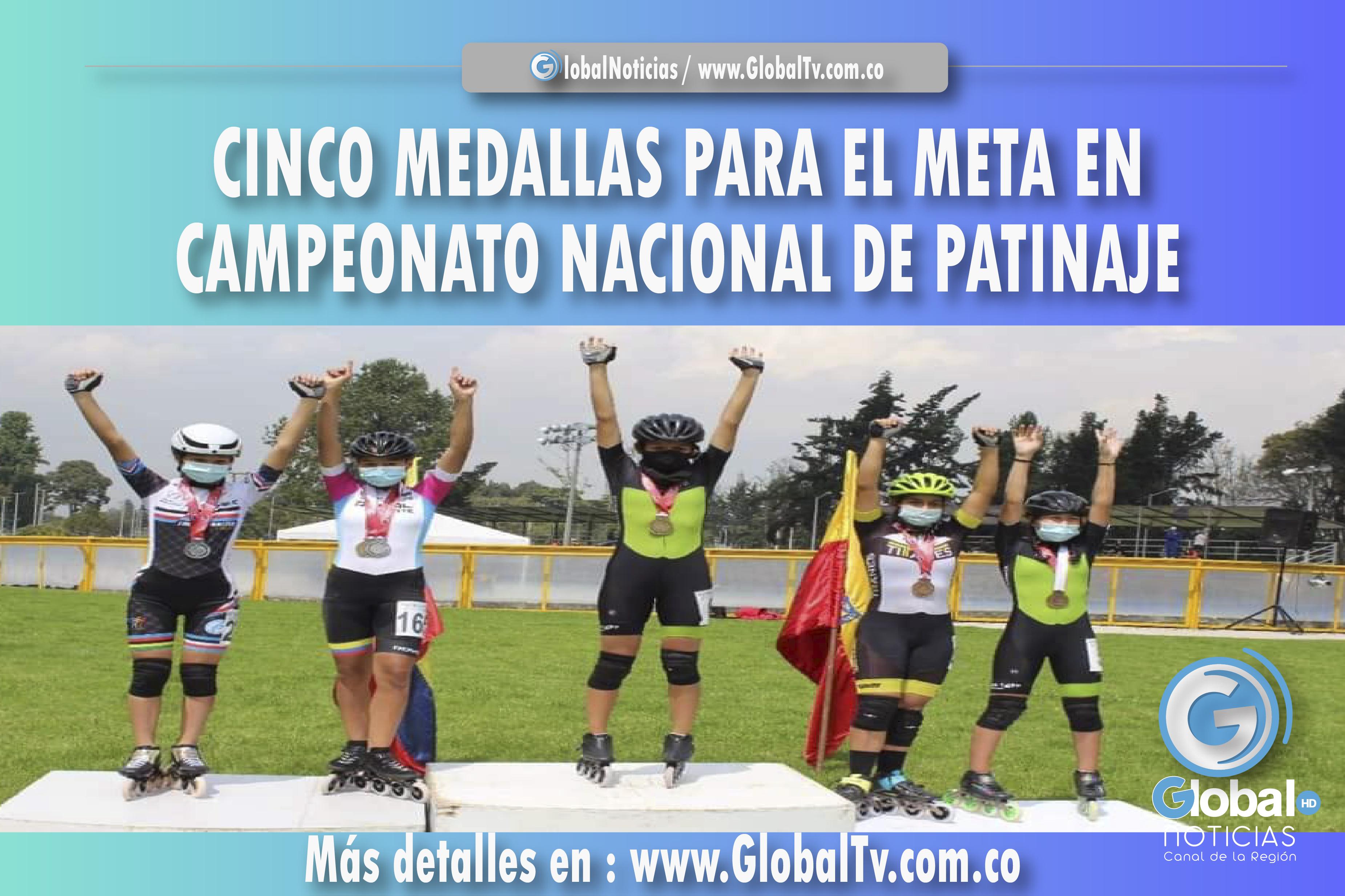 CINCO MEDALLAS PARA EL META EN CAMPEONATO NACIONAL DE PATINAJE