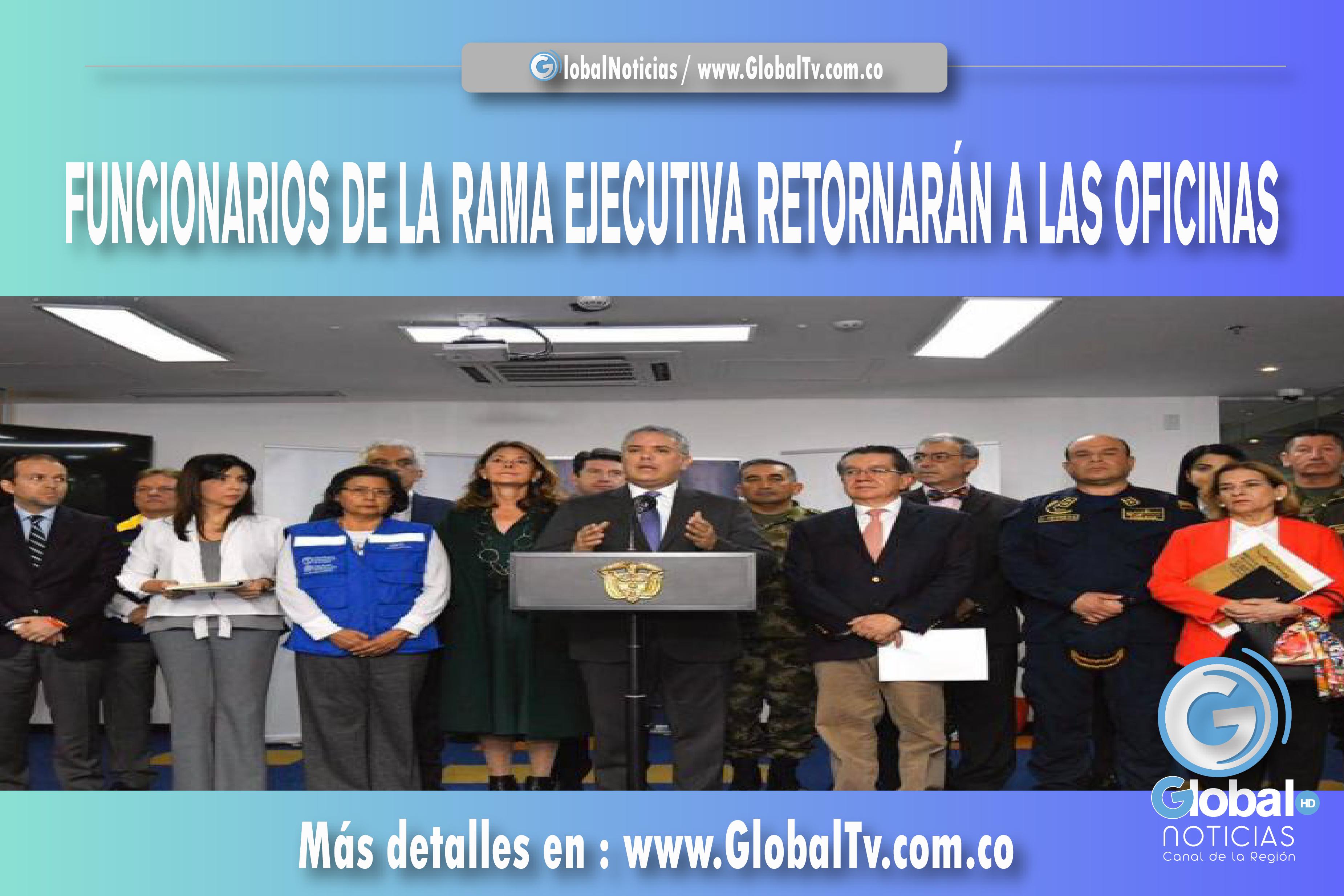 FUNCIONARIOS DE LA RAMA EJECUTIVA RETORNARÁN A LAS OFICINAS