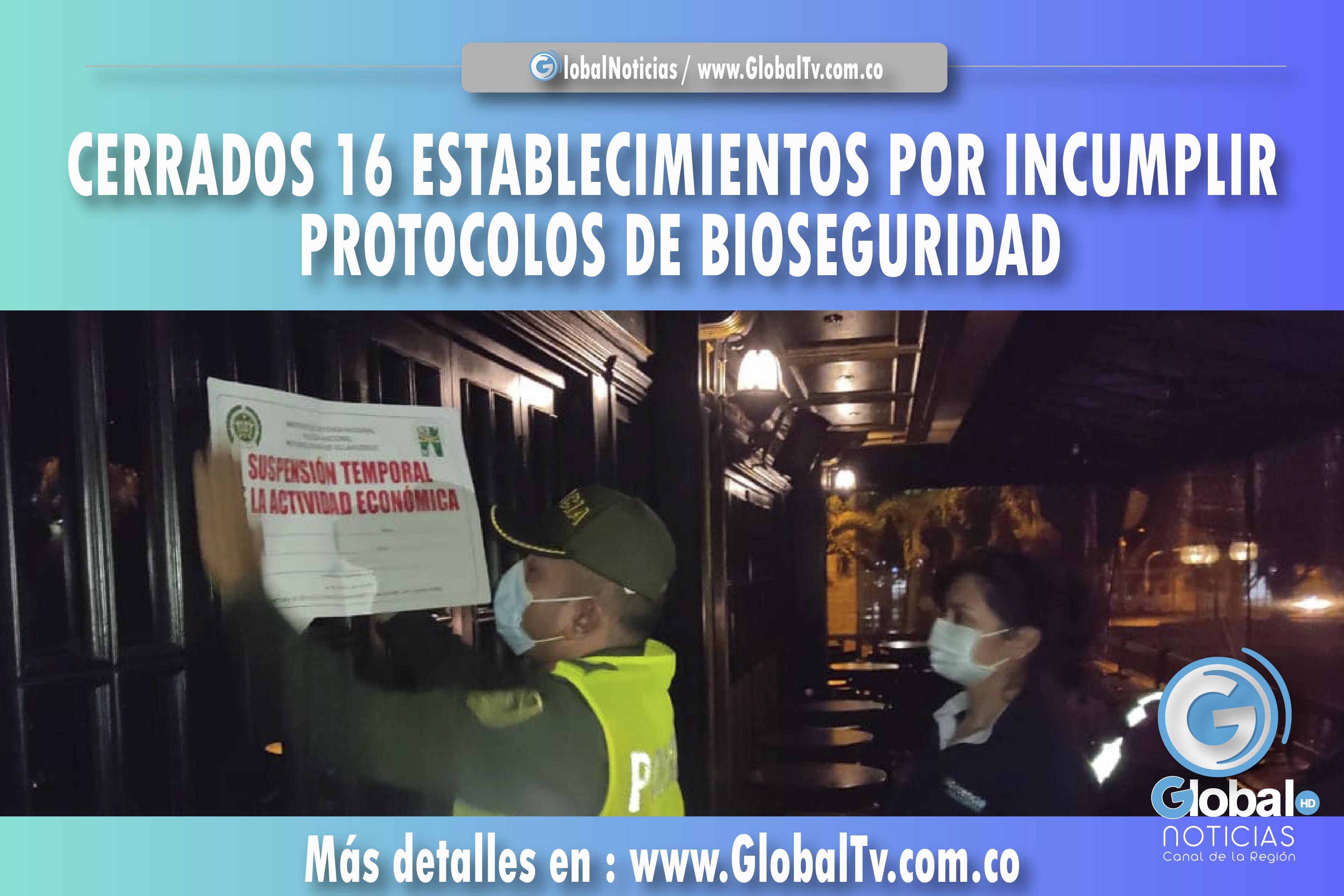 CERRADO 16 ESTABLECIMIENTOS POR INCUMPLIR LOS PROTOCOLOS DE BIOSEGURIDAD EN VILLAVICENCIO