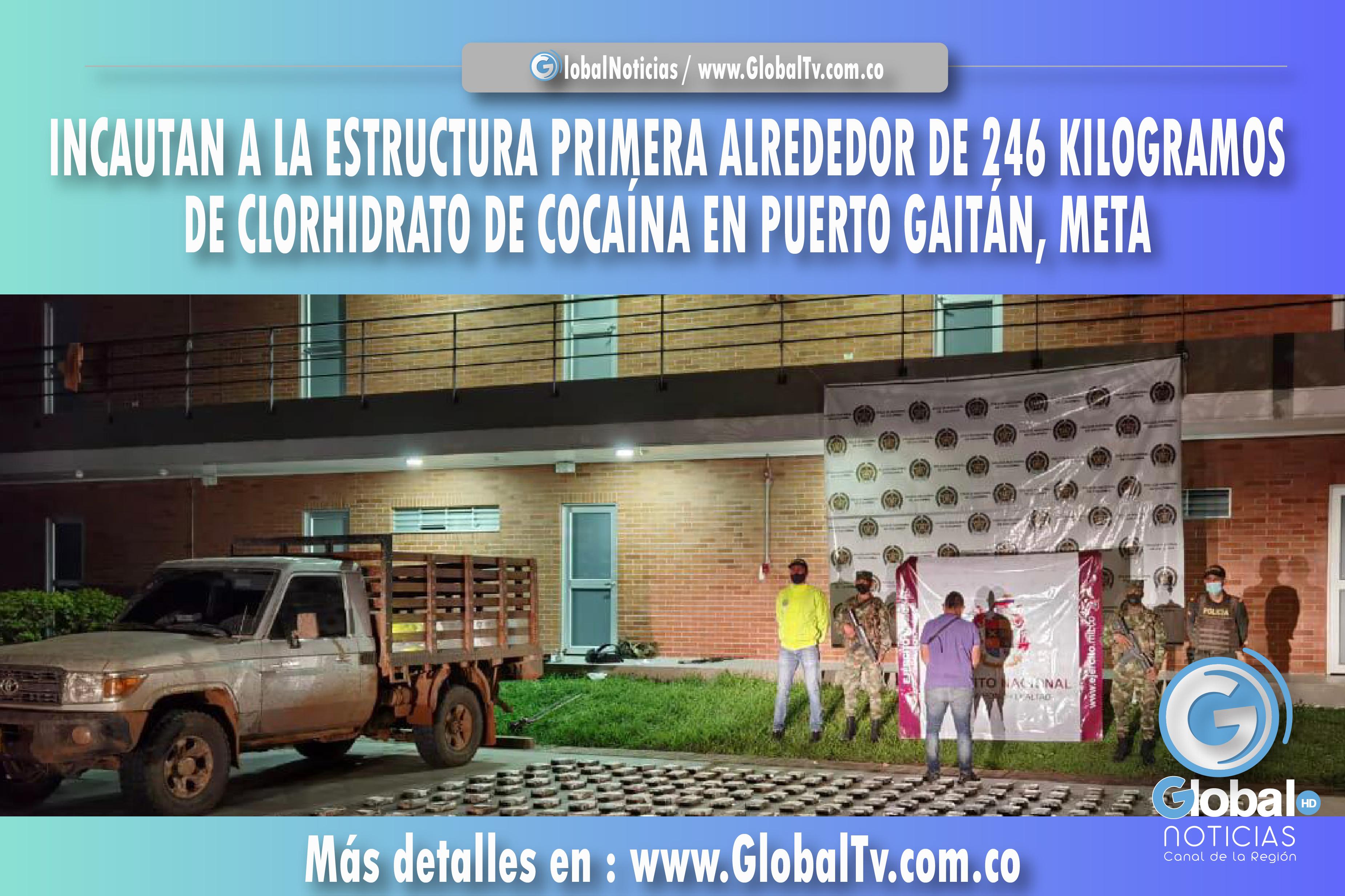 INCAUTAN A LA ESTRUCTURA PRIMERA ALREDEDOR DE 246 KILOGRAMOS DE CLORHIDRATO DE COCAÍNA EN PUERTO GAITÁN META